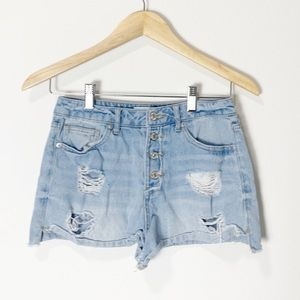 Forever 21 High Rise Distressed Denim Shorts 26
